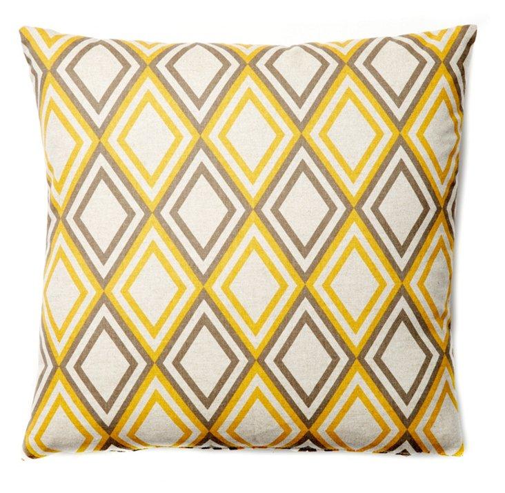 Diamond 20x20 Pillow, Yellow/Brown