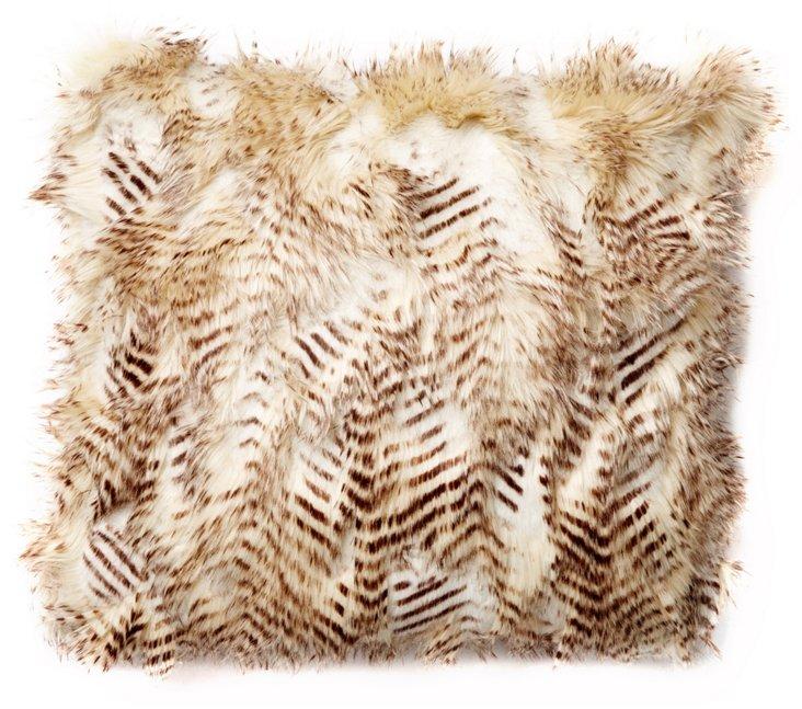 Feather 20x20 Faux-Fur Pillow, Blonde