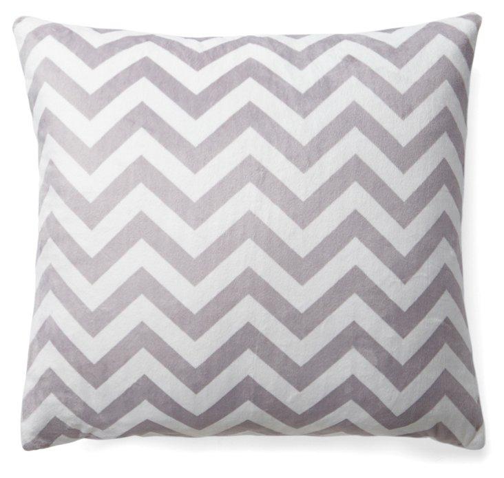 Chevron 20x20 Pillow, Silver
