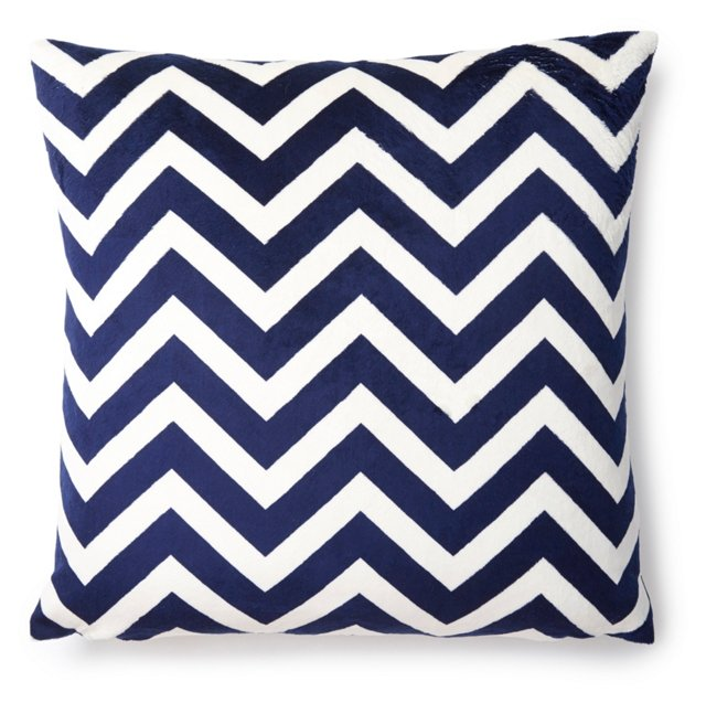 Chevron 20x20 Pillow, Navy