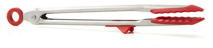S/2 Silicone Tongs, Red