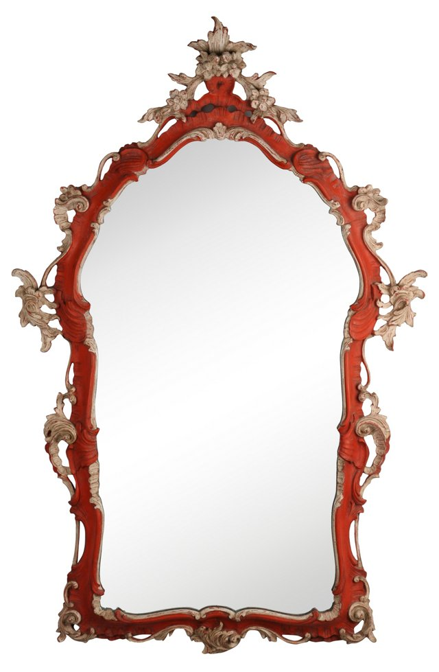 Chinoiserie Red Mirror