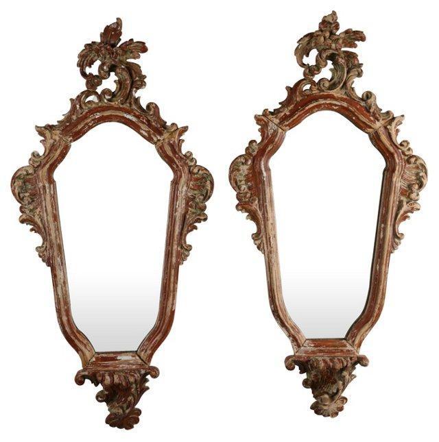 Red Rococo Mirrors, Pair