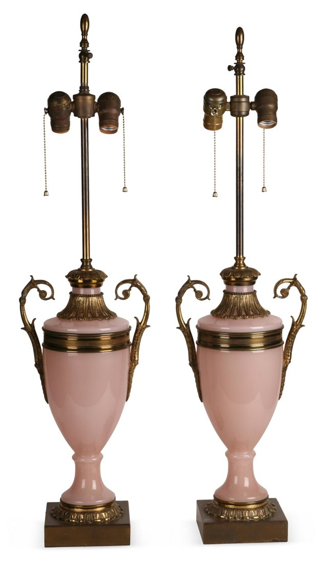 Pink Empire Lamps, Pair