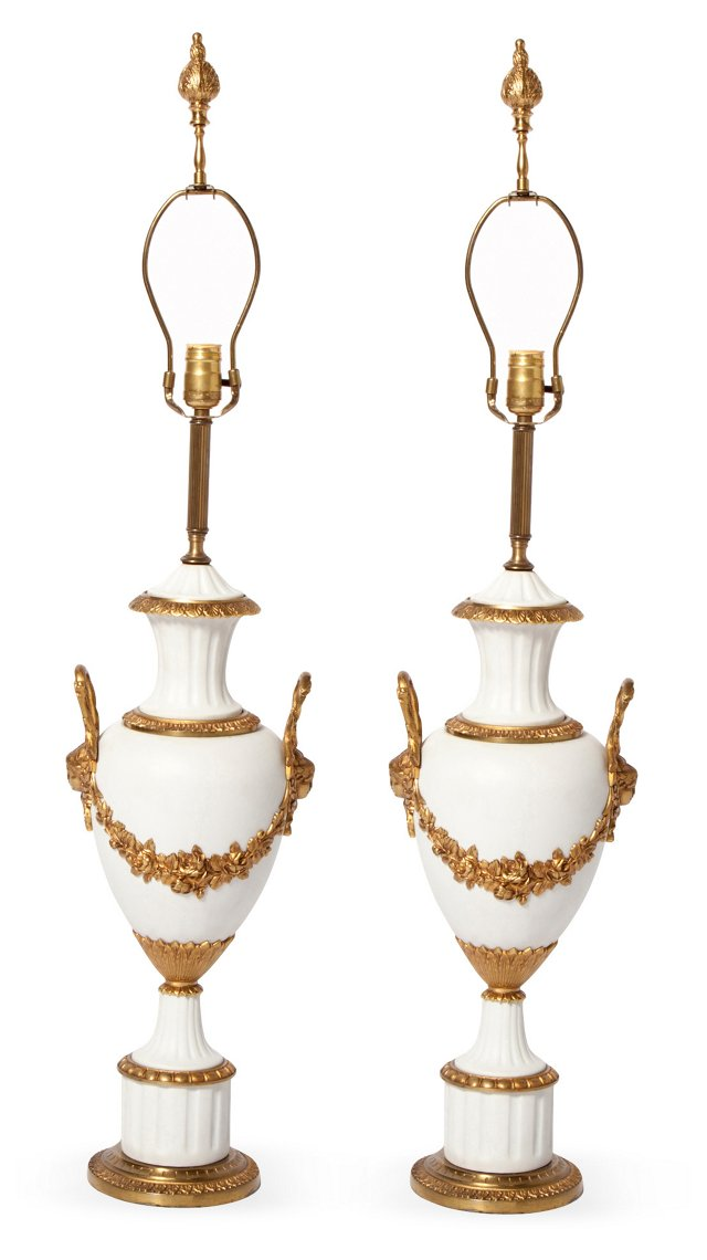 White Urn Lamps, Pair
