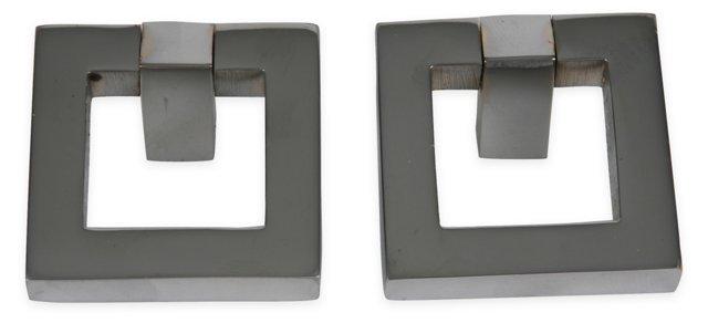 "2"" Square Chrome Knobs, Pair"