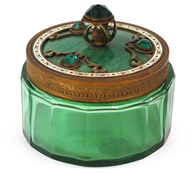 1940s Sea Green Powder Jar