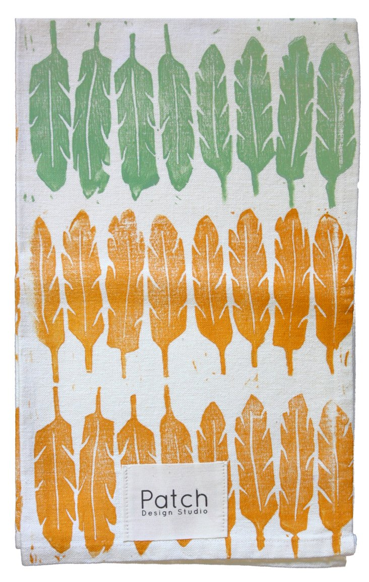 Feather Dish Towel, Green/Yellow