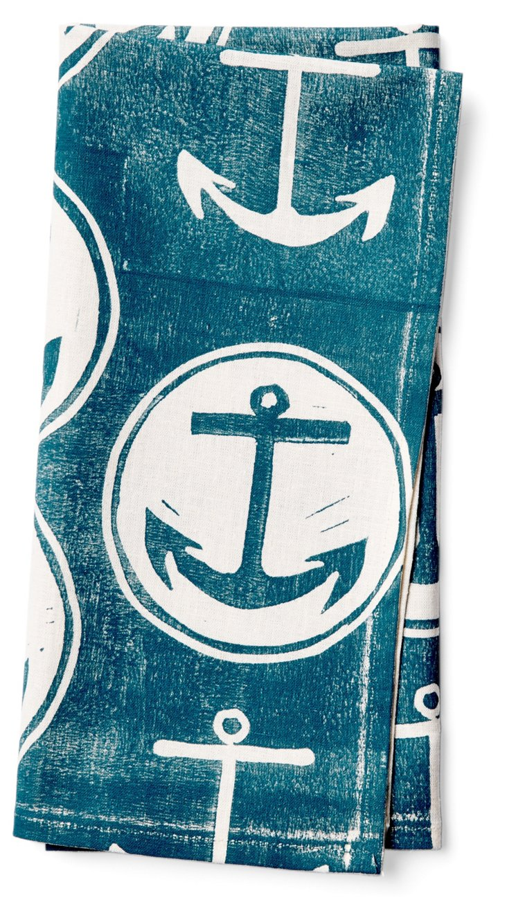S/4 Anchor Napkins, Teal