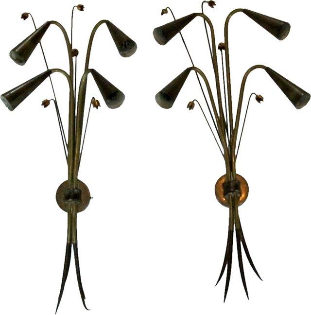 Midcentury Brass Sconces, Pair