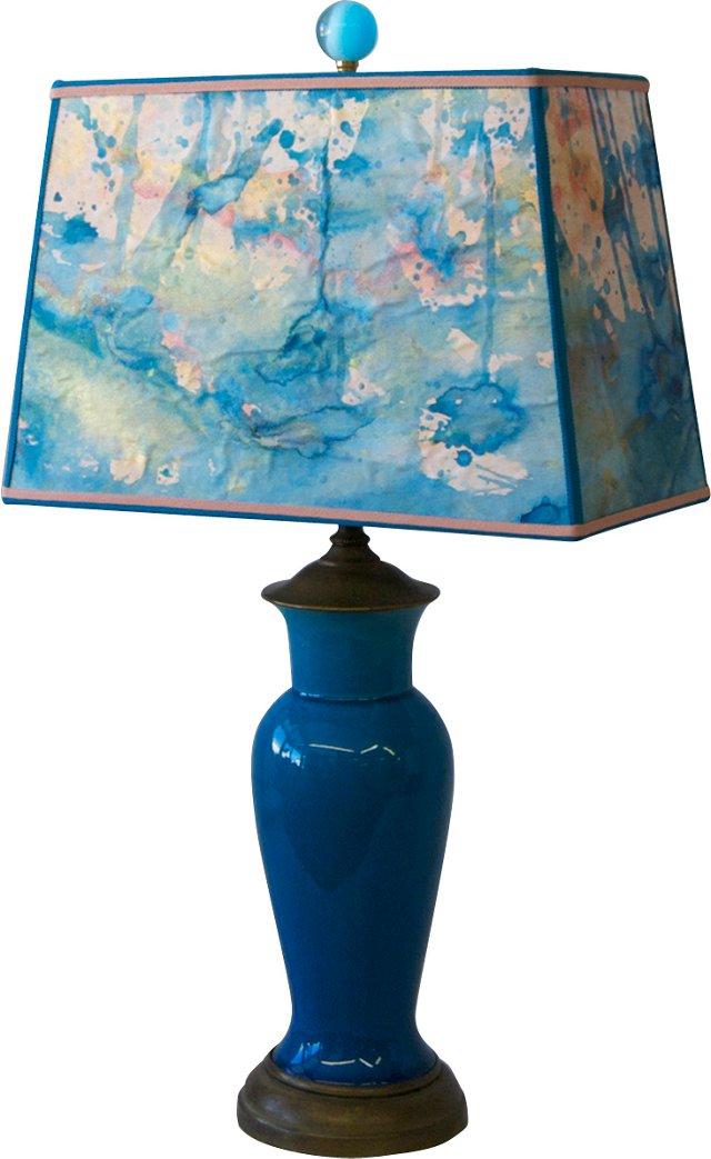 Peacock-Blue Ceramic Lamp