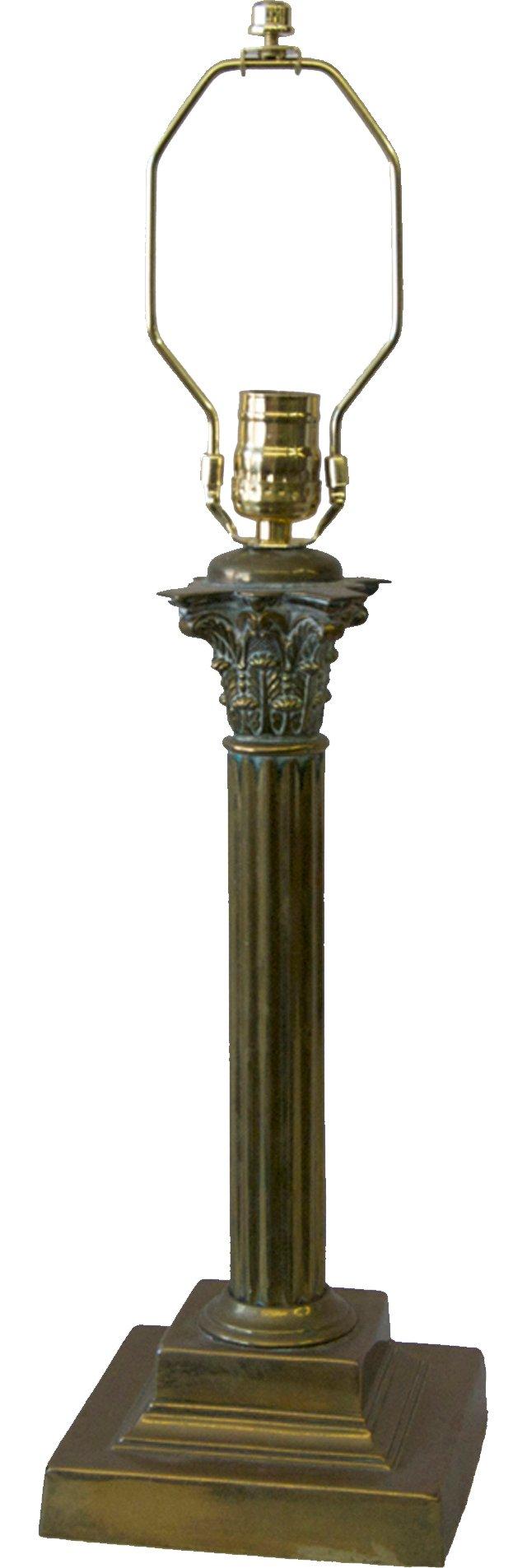 English Brass Candlestick Lamp