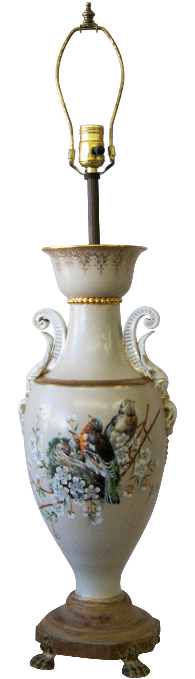 19th-C. Painted Lamp