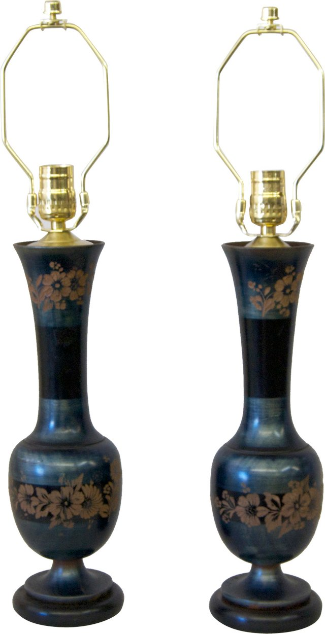 Blue Carved Wood Lamps, Pair