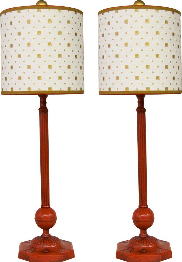 Painted Art Deco Lamps, Pair