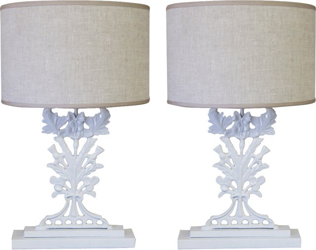 Cast-Iron Thistle Lamps, Pair