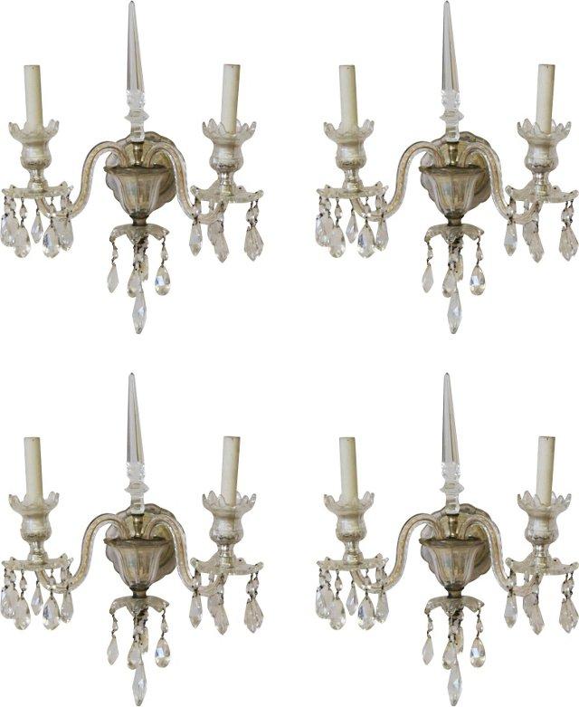 Cut Crystal Sconces, Set of 4