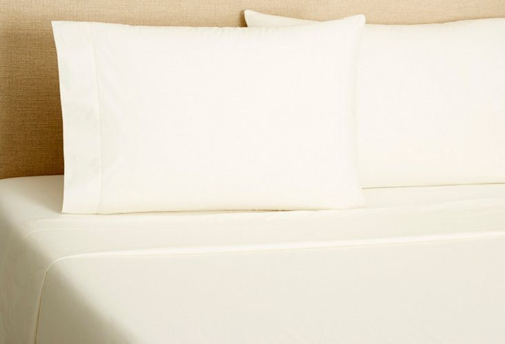 Hemstitch Solid Sheeting, Ivory