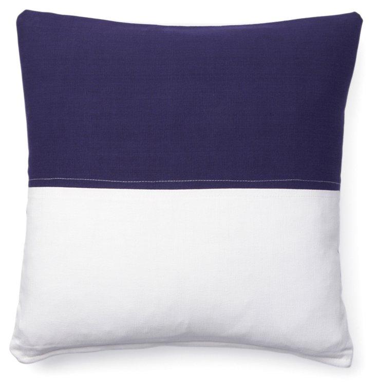 Nautical 18x18 Cotton Pillow, Navy
