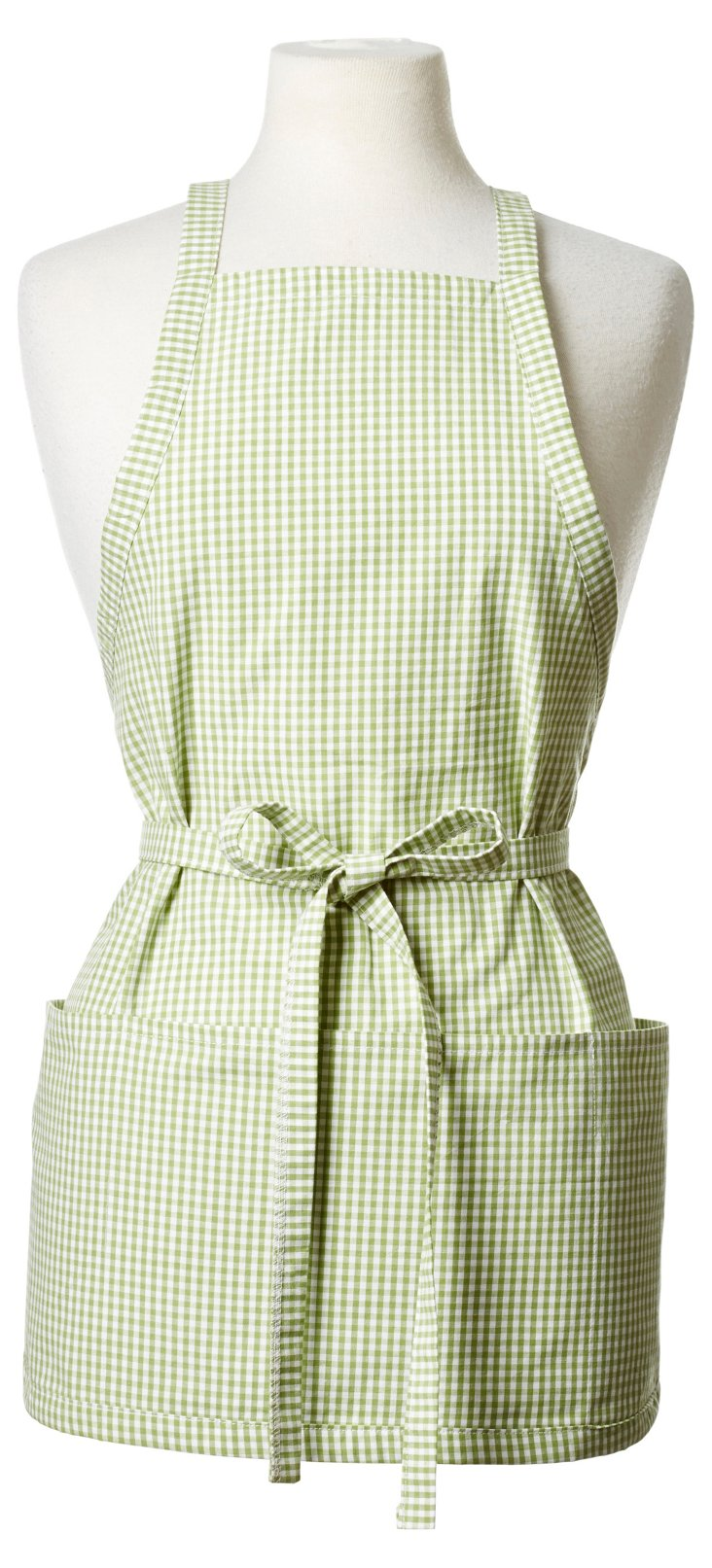 Mini Check Short Apron, Green