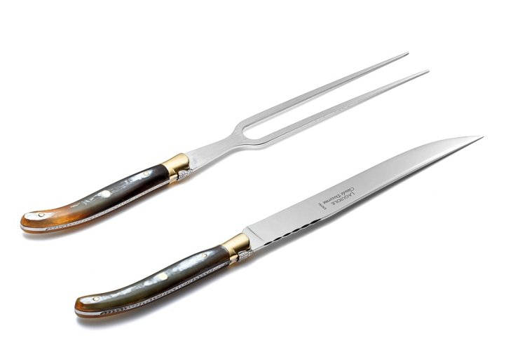 2-Pc Carving Set, Natural Horn
