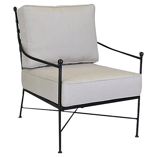 Provence Club Chair, Beige Sunbrella