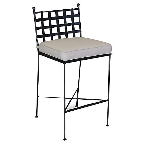 Provence Outdoor Barstool, Rich Pewter