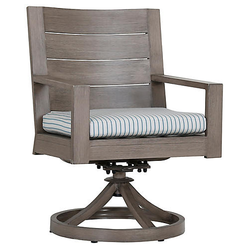 Laguna Swivel Armchair, Ivory/Blue