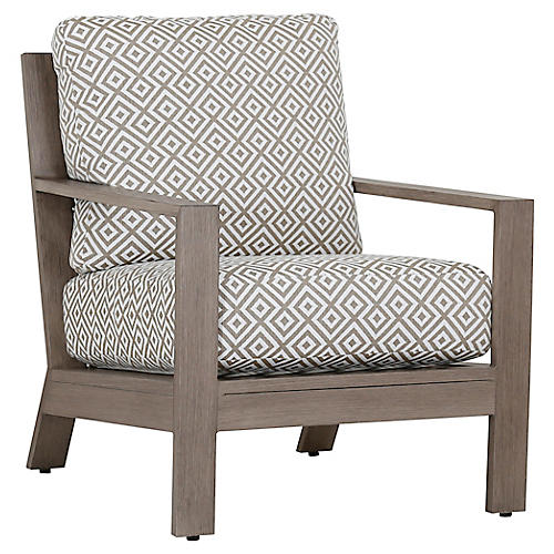Laguna Club Chair, Tan/White