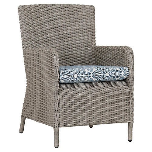 Manhattan Armchair, Ivory/Blue