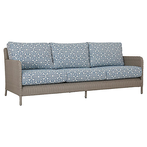 Manhattan Sofa, Ivory/Blue