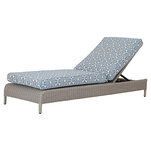 Manhattan Chaise, Ivory/Blue