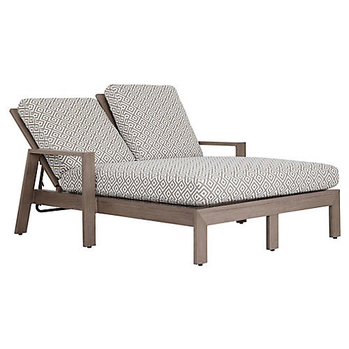 Laguna Double Chaise, Tan/White Sunbrella