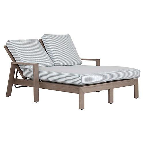 Laguna Double Chaise, Ivory/Blue Sunbrella