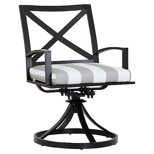 La Jolla Swivel Armchair, Gray/White
