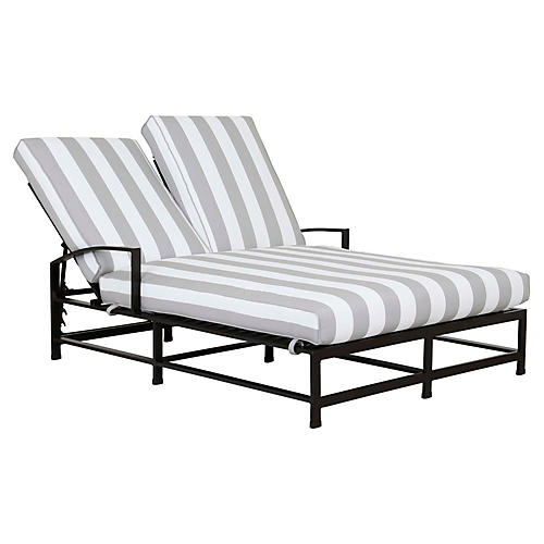 La Jolla Double Chaise, Gray/White