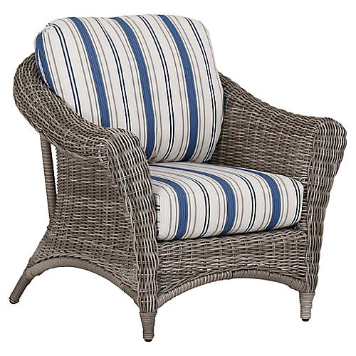 La Costa Club Chair, Ivory/Blue