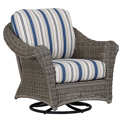 La Costa Rocking Club Chair, Ivory/Blue