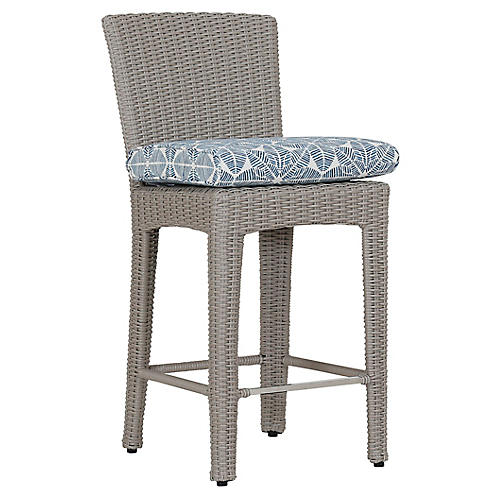 Manhattan Counter Stool, Ivory/Blue