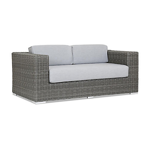 Emerald II Loveseat, Gray Sunbrella