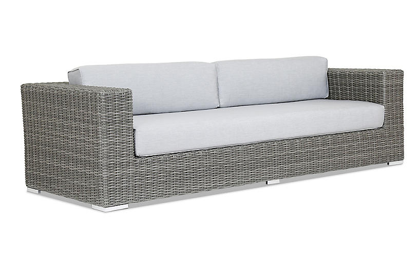 Emerald II Sofa, Gray Sunbrella