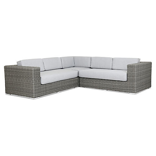 Emerald II Sectional, Gray Sunbrella