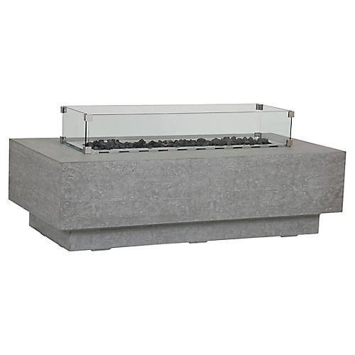 Gravelstone Rectangle Fire Table, Gray