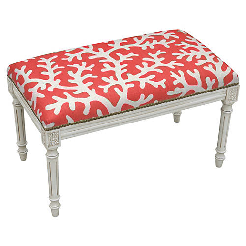"Ollie 32"" Bench, Red Coral"