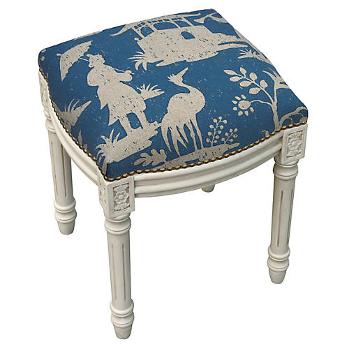 Kara Stool, Blue Chinoiserie
