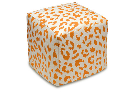 Cheetah Linen Ottoman, Orange