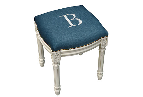 Monogrammed Upholstered Vanity Stool