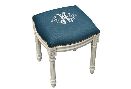 Monogrammed Decorative Vanity Stool