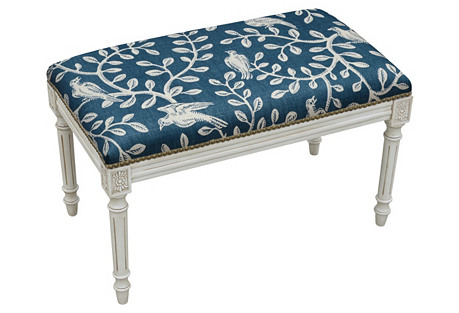 Vines Wooden Bench, Navy Blue