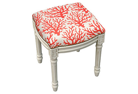 Coral Wooden Stool, Red